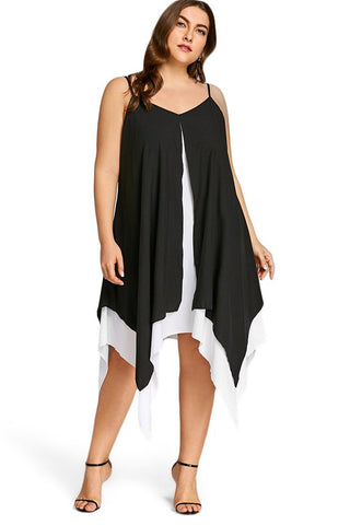 Plus Size Flowy Chiffon Spaghetti Strap Dress