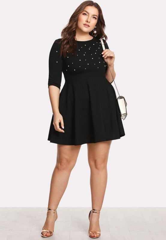Plus Size Adorable Pearl Beading Fit and Flare Dress