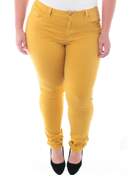 Plus Size Soft Premium Colored Yellow Skinny Jeans – Plussizefix.com