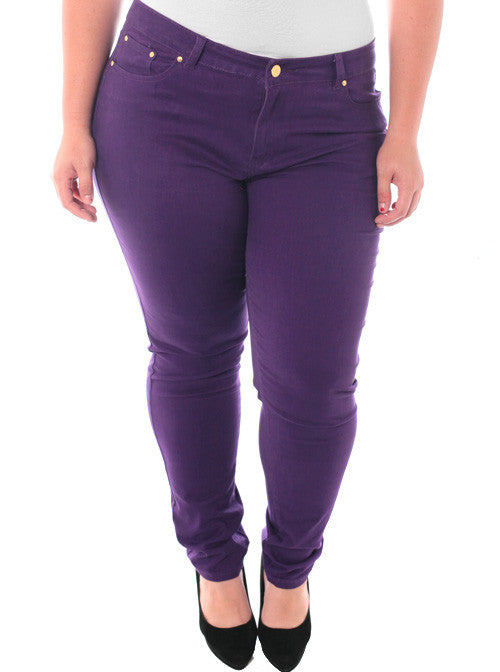 Plus Size Stretchy Premium Purple Skinny Pants