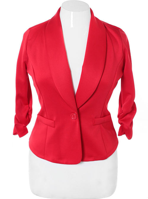 Plus Size Shawl Collar Scrunch Sleeve Red Blazer