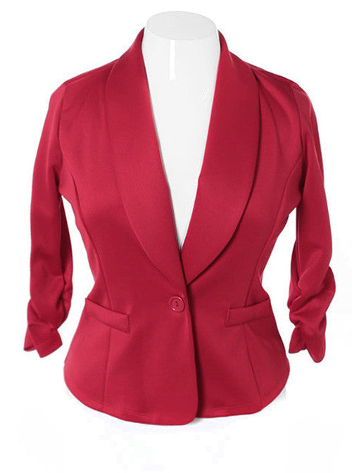 Plus Size Shawl Collar Scrunch Sleeve Rose Blazer