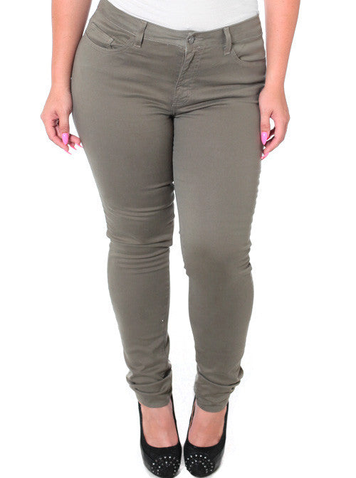Plus Size Stretchy Premium Olive Skinny Pants