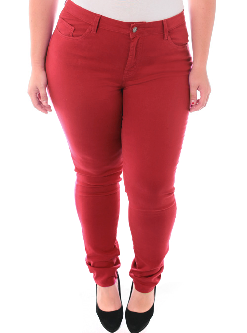Plus Size Stretchy Premium Burgundy Skinny Pants