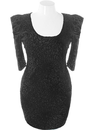 Plus Size Velvet Bold Shoulder Black Dress