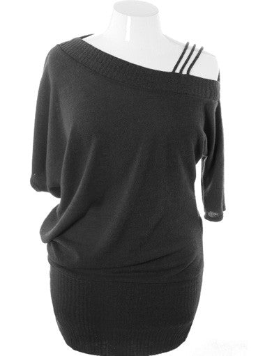 Plus Size Knit One Shoulder Black Dress