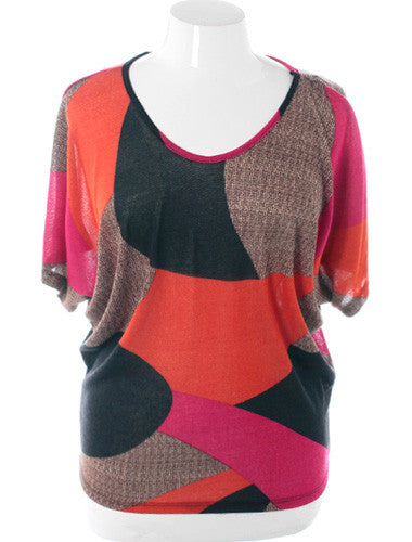 Plus Size Abstract Loose Orange Top