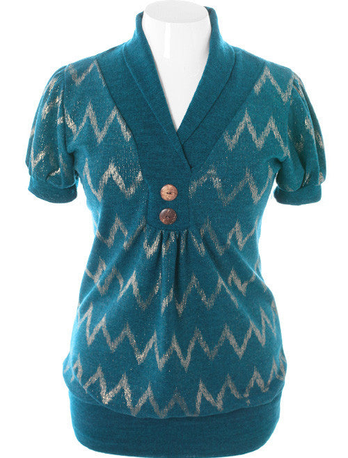 Plus Size Sparkling Shawl Knit Teal Top