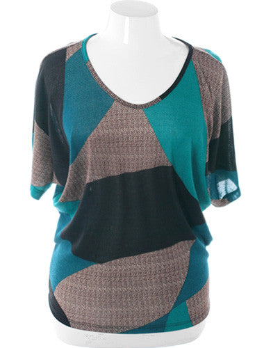 Plus Size Abstract Loose Teal Top