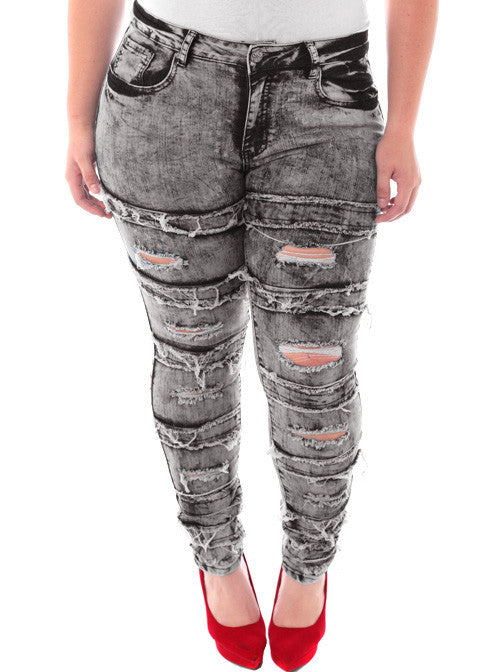 Plus Size Designer Slashed Rocker Grey Jeans