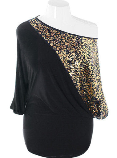 Plus Size Show Stopper Sparkling Gold Mini Dress