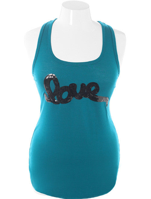 Plus Size Bedazzled Love Teal Tank
