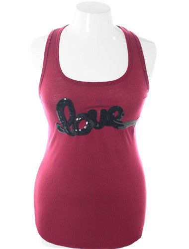 Plus Size Bedazzled Love Burgundy Tank