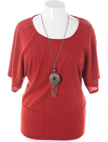 Plus Size Ribbed Knit Chain Jewelry Orange Top