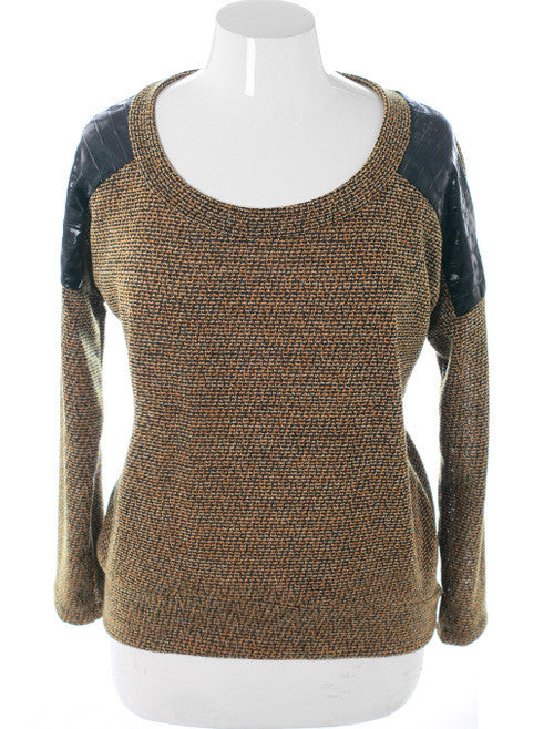 Plus Size Commando Leopard Shoulder Tan Sweater