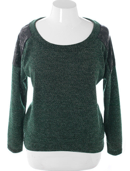 Plus Size Commando Leopard Shoulder Green Sweater