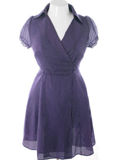 Plus Size Downtown Wrap Collared Purple Dress