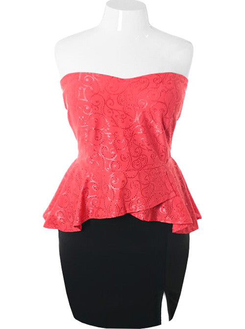 Plus Size Sexy Eyelet Lace Peplum Coral Dress