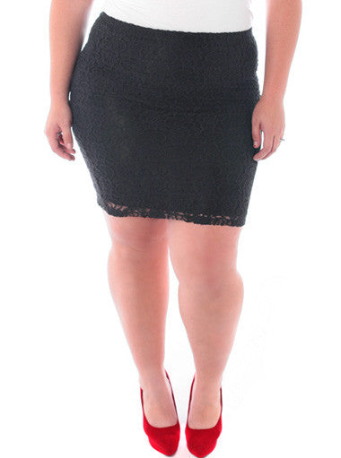 Plus Size Layered See Through Black Skirt