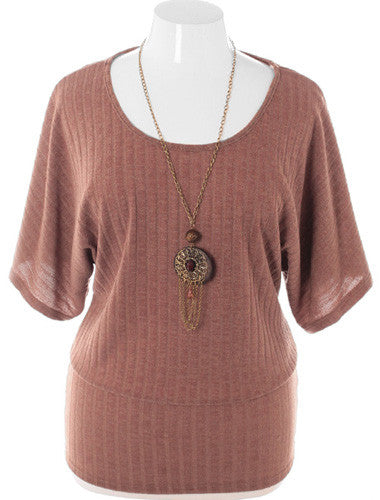 Plus Size Ribbed Knit Chain Jewelry Taupe Top
