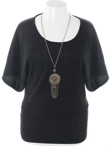 Plus Size Ribbed Knit Chain Jewelry Black Top