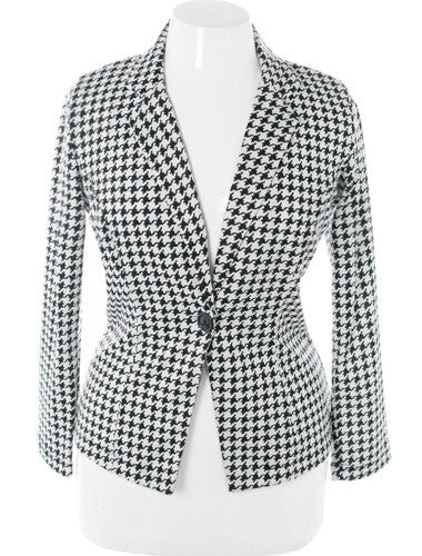 Plus Size Classic Houndstooth Jacket