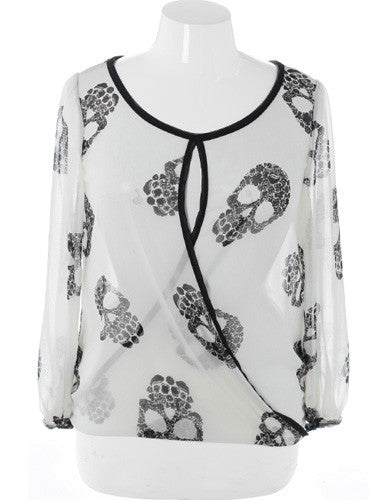 Plus Size Sexy Sheer Punk White Top