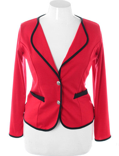 Plus Size Exclusive Contrast Trim Red Blazer