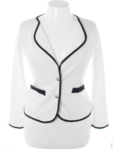 Plus Size Exclusive Contrast Trim White Blazer