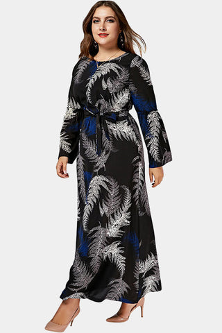Plus Size Stunning Metallic Feather Print Maxi Dress
