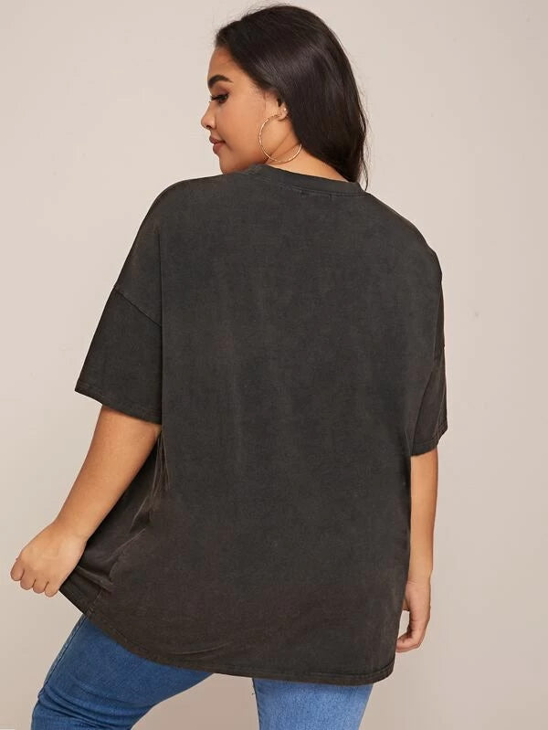 Plus Size Letter and Figure Graphic Longline Top