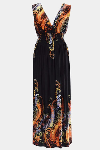 Plus Size Getaway Paisley Art Pleated Maxi Dress