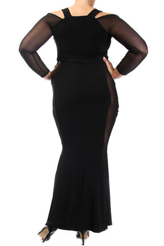 Plus Size Sexy See Through Cut Out Maxi Dress