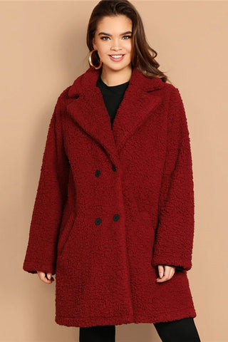 Plus Size Soft Chic Double Breasted Teddy Coat