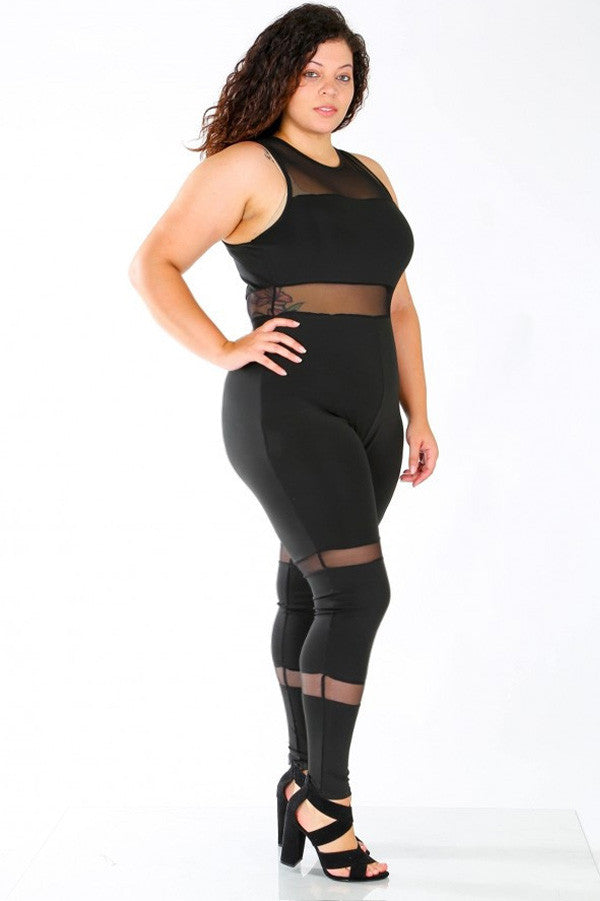 Mesh contrast Tank Zip Up Plus Size Jumpsuit