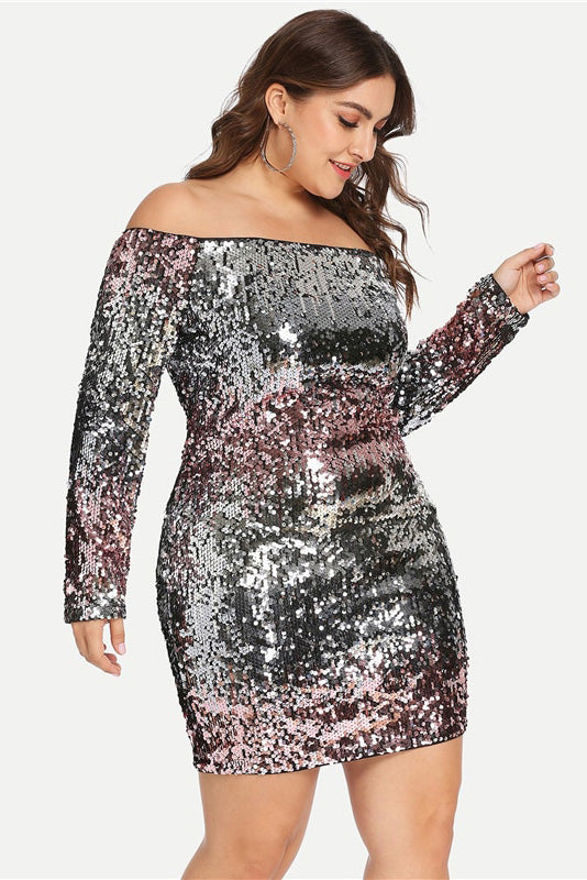 Plus Size Sequin Dress Elegant Party Dress – Plussizefix