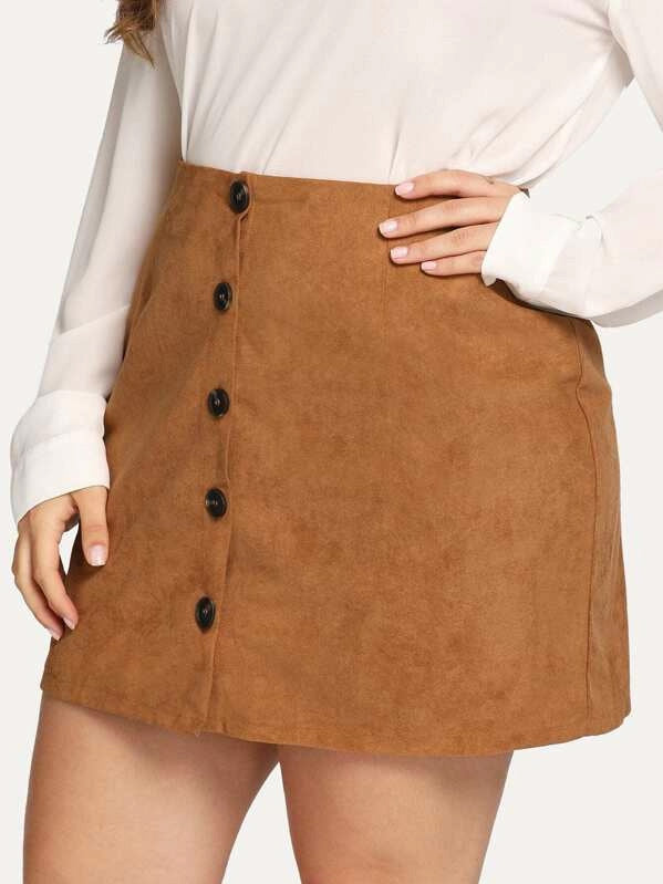 Plus Size Button Up Front Pocket Patched Skirt