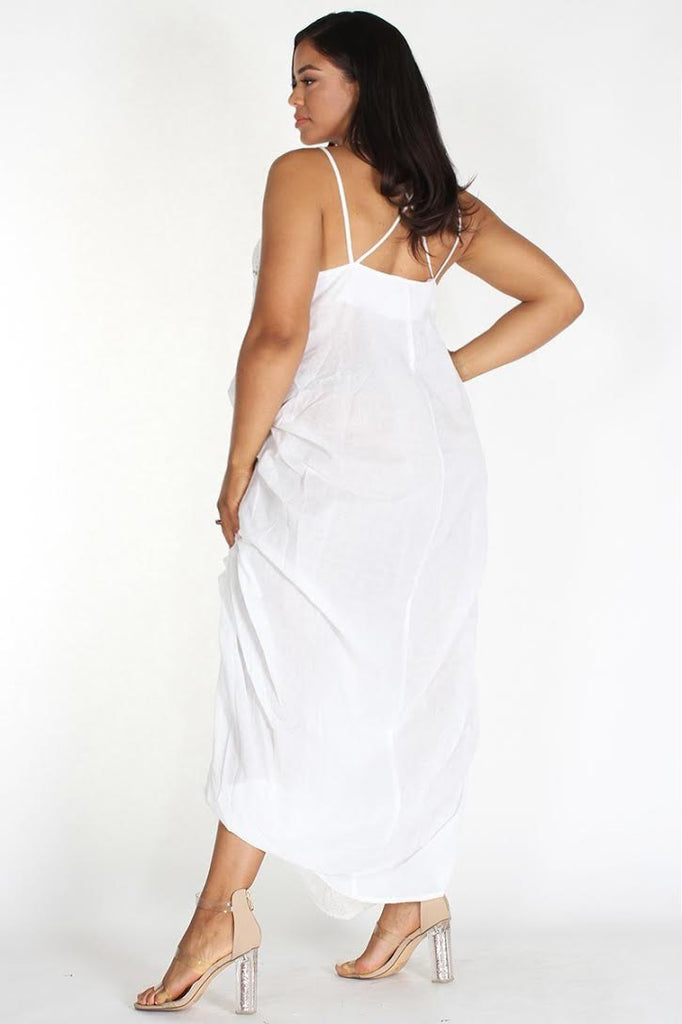Plus Size Boho Crochet Lace Trim Draped Dress
