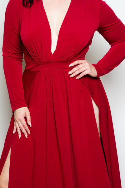 8f686e1386 Plus Size Double Slit Maxi Long Sleeved Dress – Plussizefix