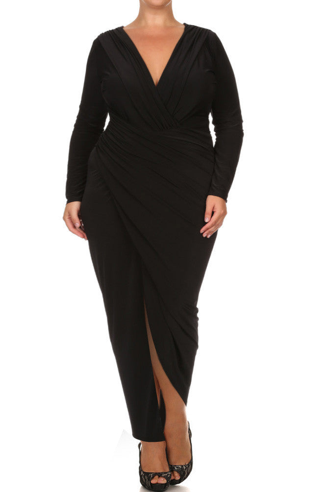 Plus Size Surplice Long Sleeve Maxi Dress