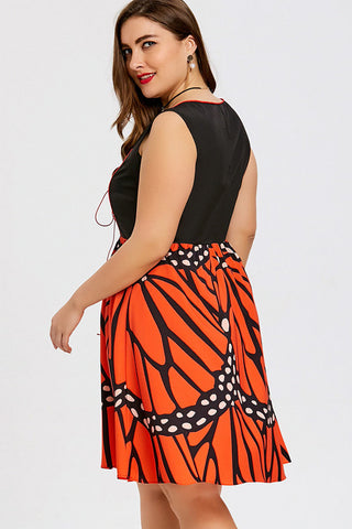 Plus Size Queen Butterfly Skirt Flare Dress