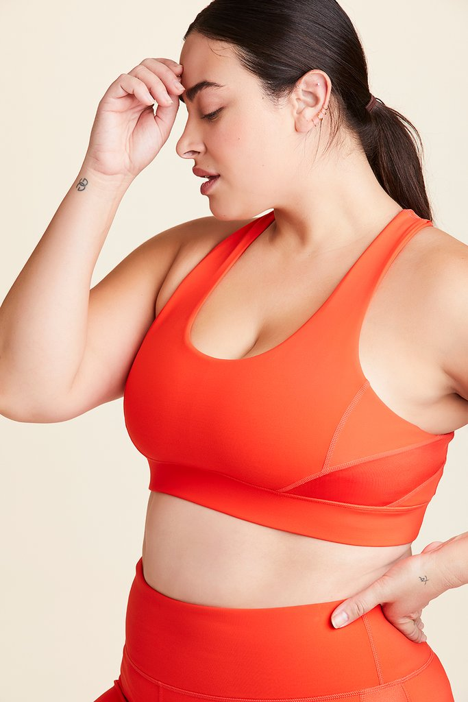 Plus Size Vamp Bra styled with Crop Vamp Tight in Lava