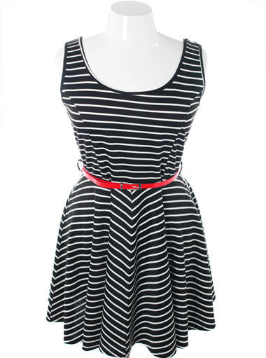 Plus Size Sexy Stripe Flowing Nautica Dress