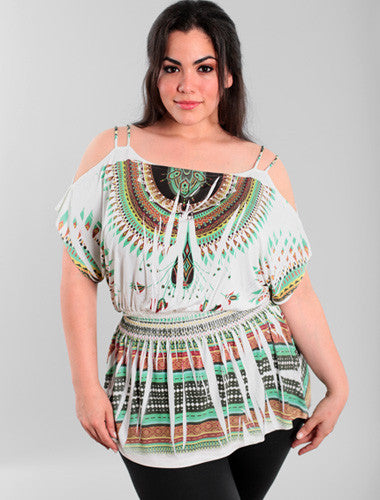 Plus Size Open Shoulder Sexy Bohemian Bubble  Top