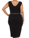 Plus Size Seductive Scuba Mesh Midi Black Dress