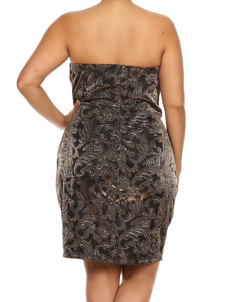 Plus Size Gleaming Victorian Print Textured Gold Dress