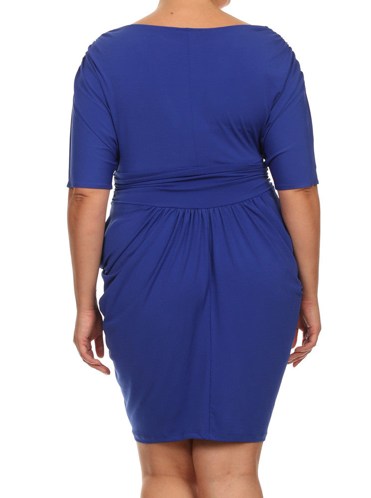 Plus Size Divine V Neck Pleated Blue Dress
