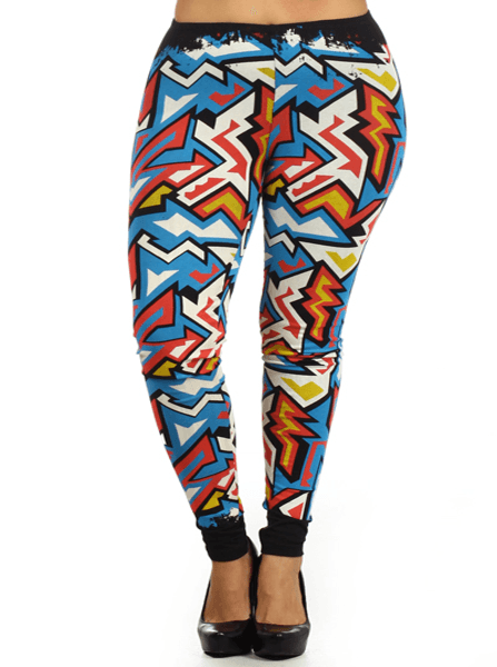 Plus Size Maze Out Colorful Leggings