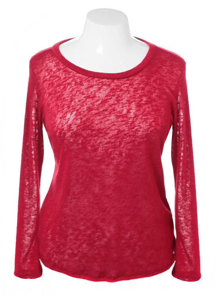 Plus Size See Through Back Red Long Sleeve