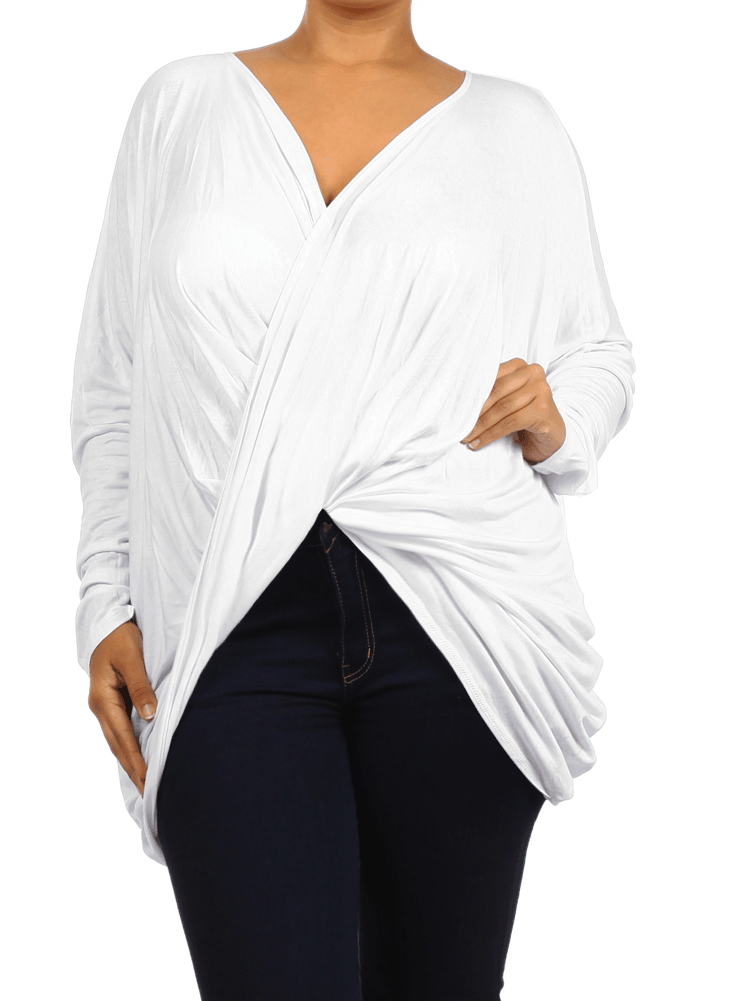 Plus Size Hot Criss Cross White Top